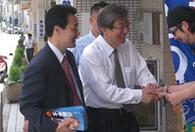 川勝平太さん(現静岡県知事)と銀座通りで